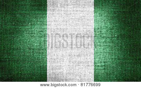 Nigeria flag on burlap fabric