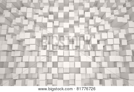 Abstract 3D background of white cubes