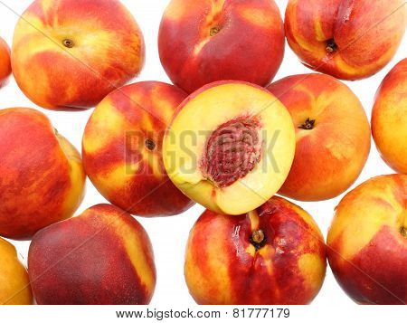 A Heap Of Peaches, On White. Isolated