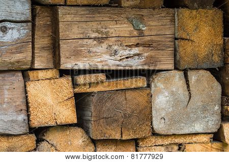 Texture Formed By Wet Pile Of Stacked Firewood