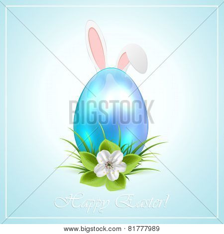 Blue Easter Egg And Bunny Ears