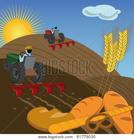 Farmers plowing the land with tractors