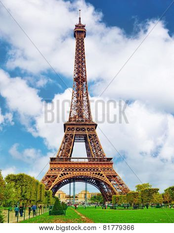 Eiffel Tower -view From The Champs De Mars.paris,france