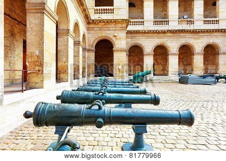 Cannons (guns) In Courtyard Of Les Invalides Hotel . Paris, France.