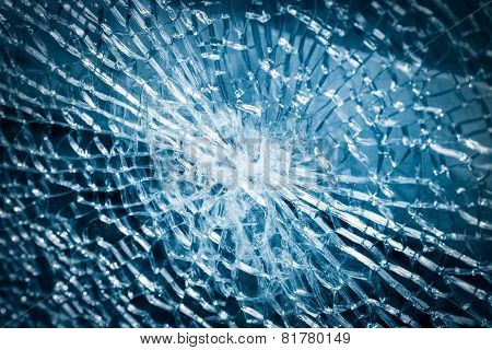 Broken Tempered Glass Closeup
