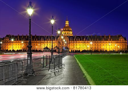 Les Invalides At Night - Paris, France.