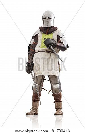 Medieval Knight With The Sword And Dagger. Isolated On White.