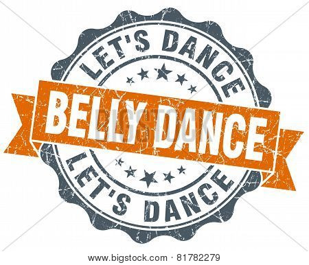Belly Dance Orange Vintage Seal Isolated On White