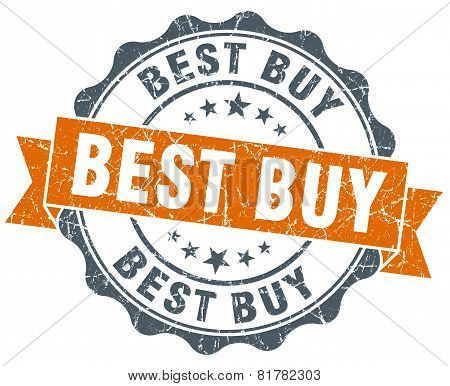 Best Buy Orange Vintage Seal Isolated On White
