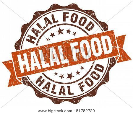 Halal Food Brown Vintage Seal Isolated On White