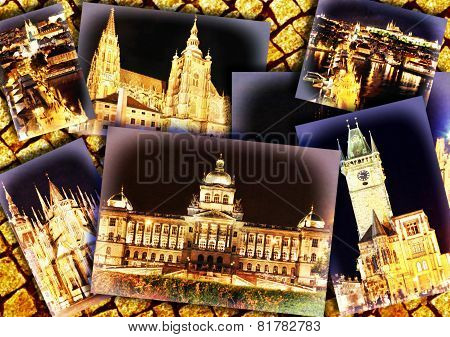 Collage Of Beautiful Prague.night View.
