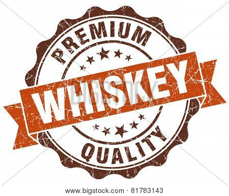 Whiskey Brown Vintage Seal Isolated On White