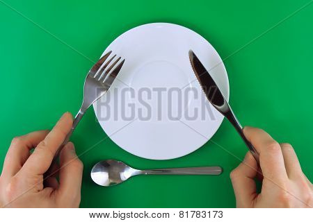 Table Serving-knife, Fork In Hands
