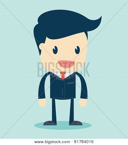 Cartoon Illustration of a Speaking Businessman. Vector Illustration.