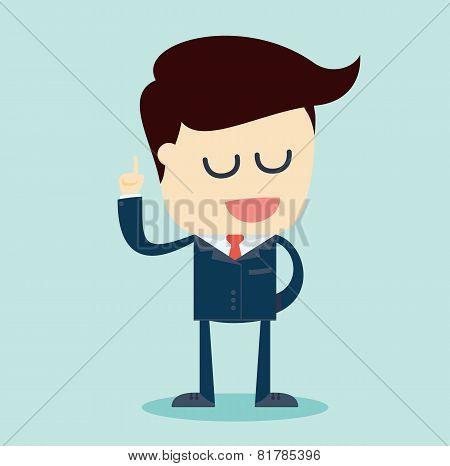 Cartoon Illustration of a Speaking Businessman with Arm Raised. Vector Illustration.