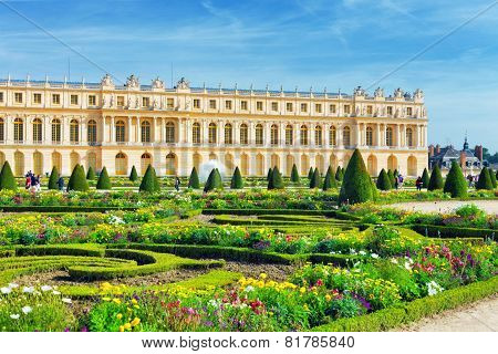 Pond In Front Of The Royal Residence At Versailles Near Paris In France.
