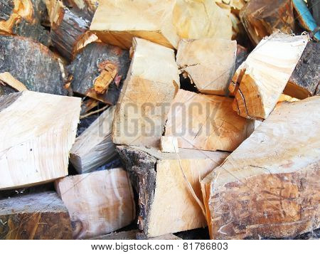 Firewood Combined In A Woodpile
