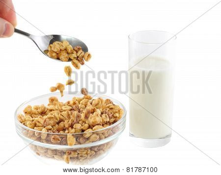 Milk's Glasses With Bowl  Flakes. Isolated