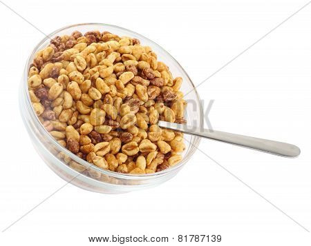 Glass Bowl With Cold Cereal Flakes. Isolated
