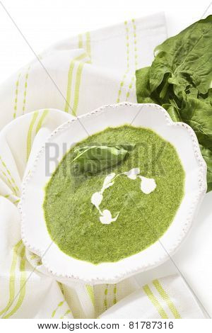Spinach Soup And Fresh Spinach.