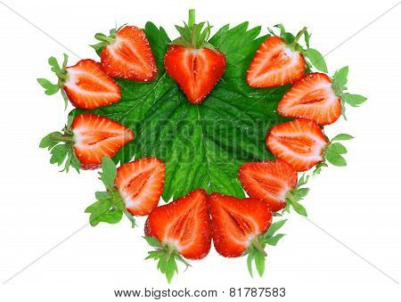 Strawberries In Heart Shape. Isolated