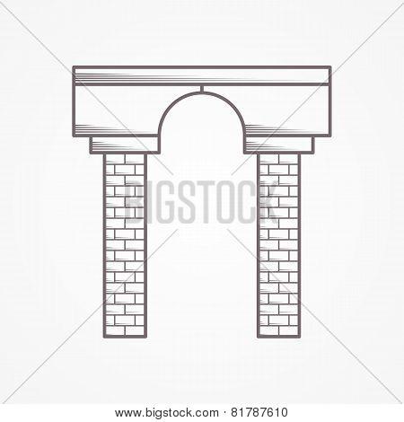Contour vector icon for arch