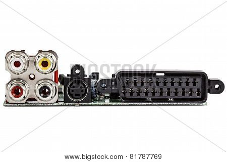 Electronic Circuit Board With Audio And Video Connections, Isolated On White Background