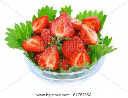 A Heap Of  Strawberries In Glass Bowl. Isolated