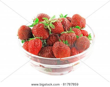 A Heap Of Fresh Strawberries In Glass Bowl