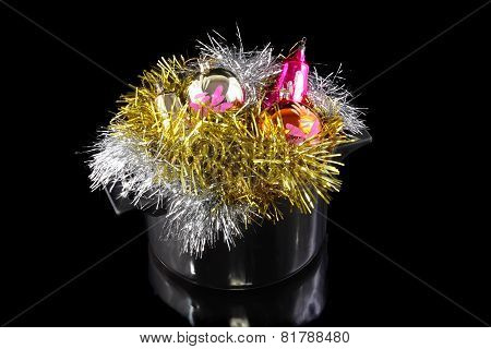 Funny Christmas,new Year-tinsel In Saucepan