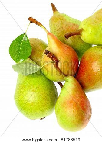 Heap Of Pear With Stem And Green Leaf. Isolated.