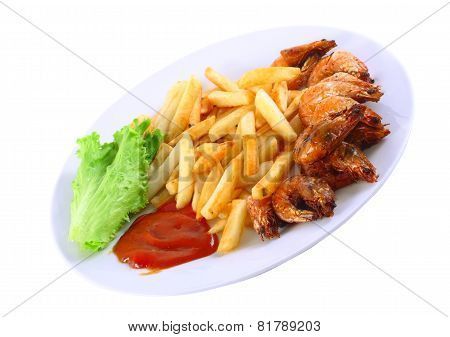 Deep-fried Potatoes With Fry Shrimps. Isolated