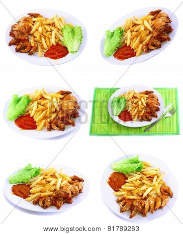 Fried Potatoes With Fry Shrimps,lettuce. Isolated