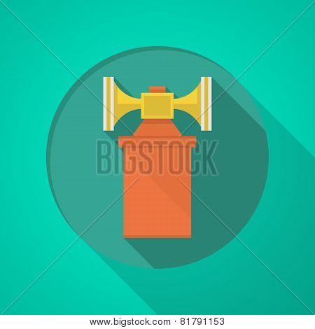 Orange air horn flat icon