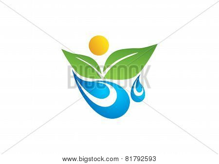 nature plant water spring logo, human wellness people health design vector