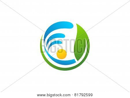 circle element nature logo, water, spring, people health design vector