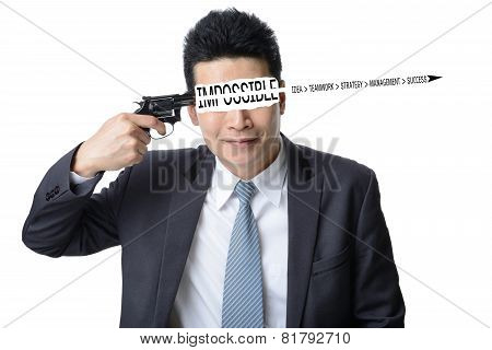 Businessman Use Gun Shoot Word Impossible In His Head Isolated On White ,motivation Concept