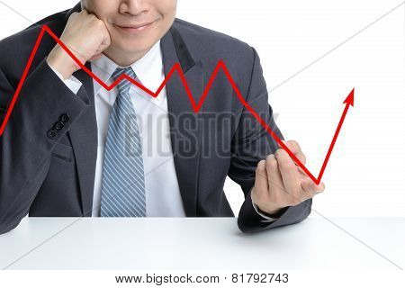 Businessman Use Finger To Change From Downing To Be Rising Arrow, Representing Business Growth.