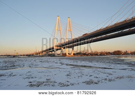 Cable Stayed Bridge At Winter Day.