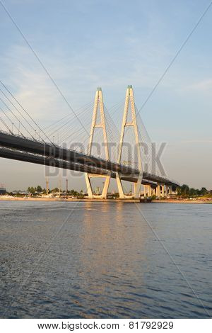 Cable Stayed Bridge At Evening.