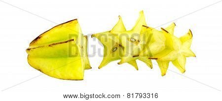 Horizontal Shot Of Green Ripe Starfruit Carambola With Cross Sections