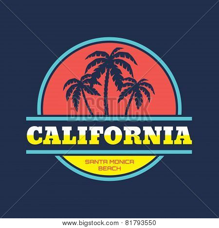 California - Santa Monica beach - vector illustration concept in vintage graphic style