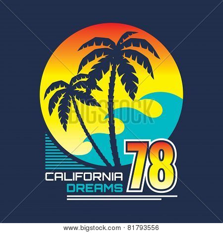 California nights - vector illustration concept in vintage graphic style