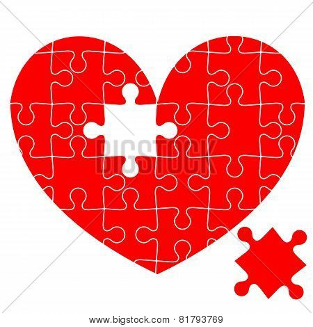 Jigsaw puzzle in the  red heart.