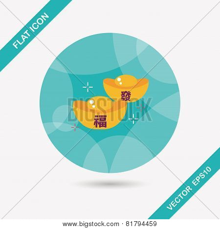 Chinese New Year Flat Icon With Long Shadow,eps10, Gold Ingot With Chinese Words Means