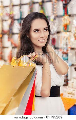 Happy Beautiful Woman Shopping