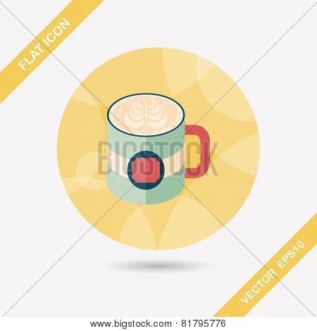 Coffee Latte Art Flat Icon With Long Shadow,eps10