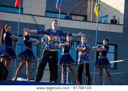 Young People Perform Folk Dance