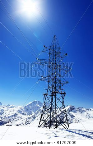 Power Line High In The Mountains.