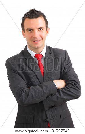 Portrait Of Cheerful Businessman In Black Suite.